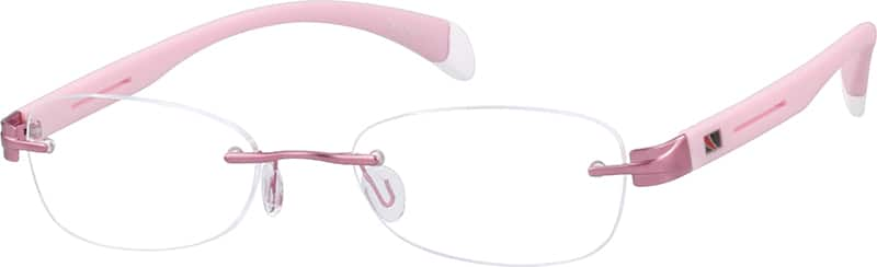 Rimless Metal Alloy Frame with Flexible Plastic Temples Frame