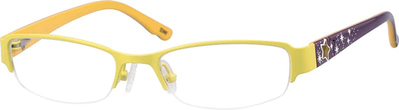 Children's Stainless Steel Half-Rim Frame with Acetate Temples and Spring Hinges