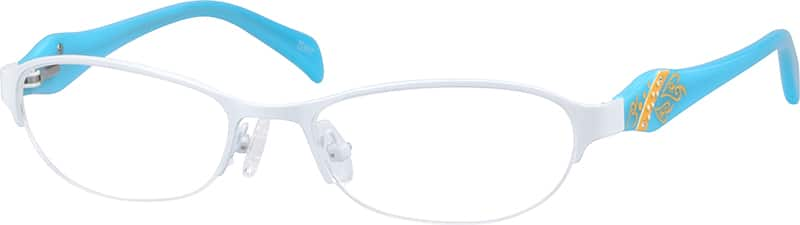 Girl Half Rim Mixed Materials Eyeglasses #678930