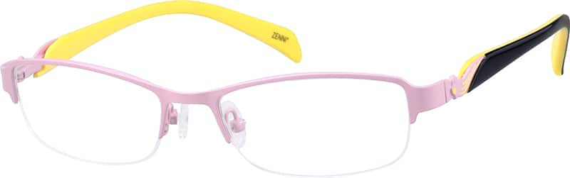 Girl Half Rim Mixed Materials Eyeglasses #679016