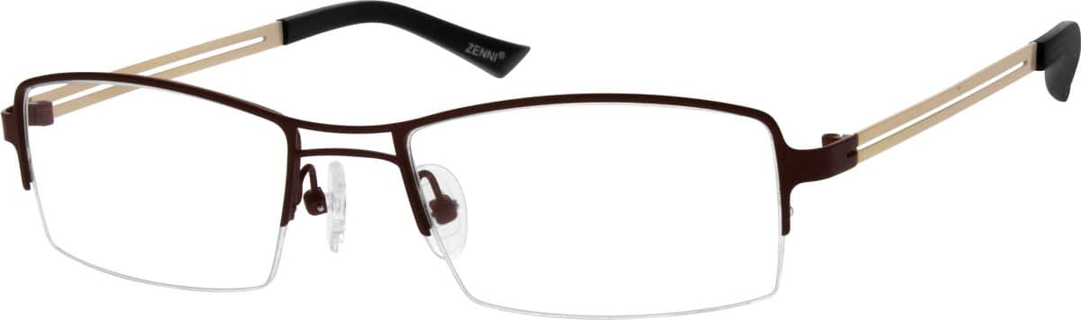 Brown Stainless Steel Half-Rim Frame #6844 Zenni Optical ...