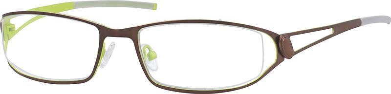 Eyeglasses Frame Temples : Brown Partial Rim Stainless Steel Frame with Designer ...