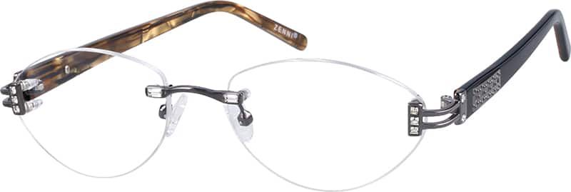 Women Rimless Mixed Materials Eyeglasses #715312