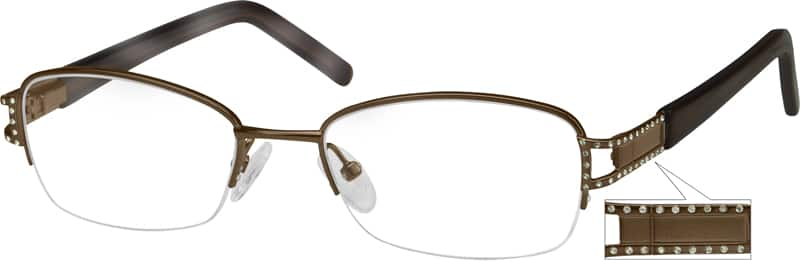 UnisexHalf RimMixed MaterialsEyeglasses #716814