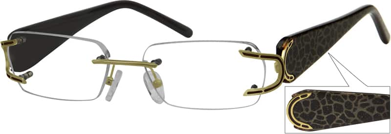 Gold 7174 Rimless Metal Alloy Frame with Designer Acetate Temples