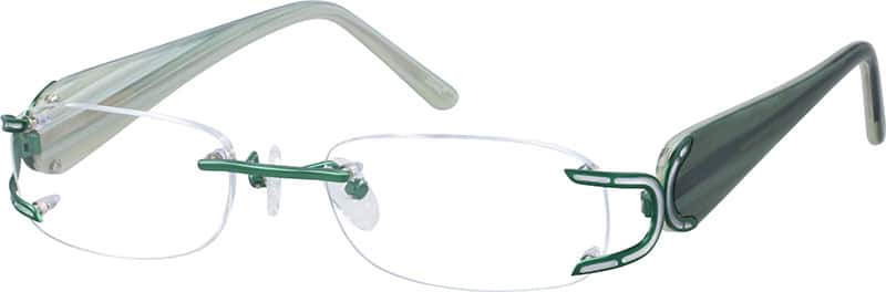 Green 7174 Rimless Metal Alloy Frame with Designer Aceta