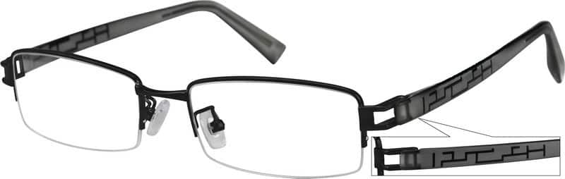 Men Half Rim Mixed Materials Eyeglasses #730921