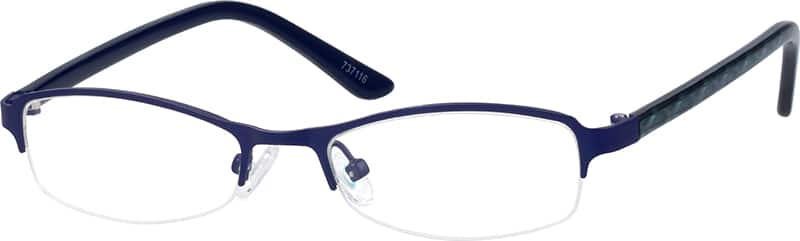 Boy Half Rim Mixed Materials Eyeglasses #737119