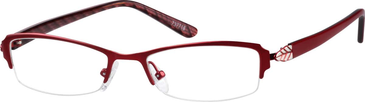 Stainless Steel Half-Rim Frame with Acetate Temples