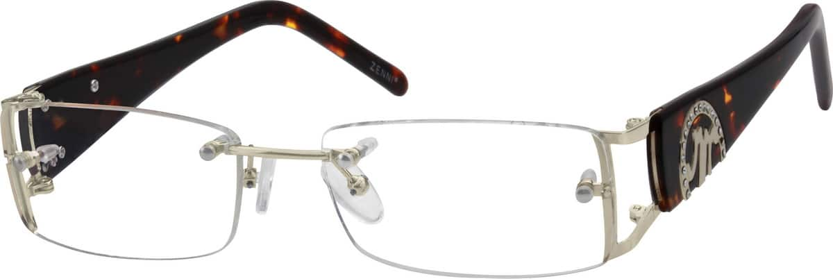 Women Rimless Mixed Materials Eyeglasses #738214