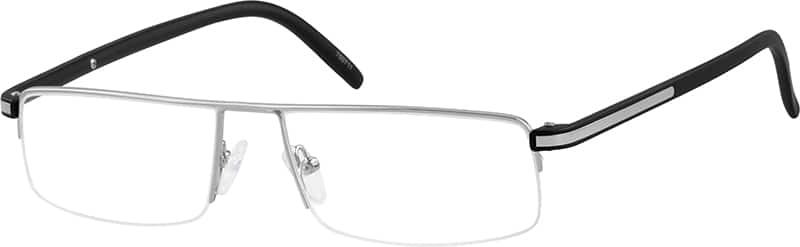 Stainless Steel Half-Rim Frame with Plastic Temples