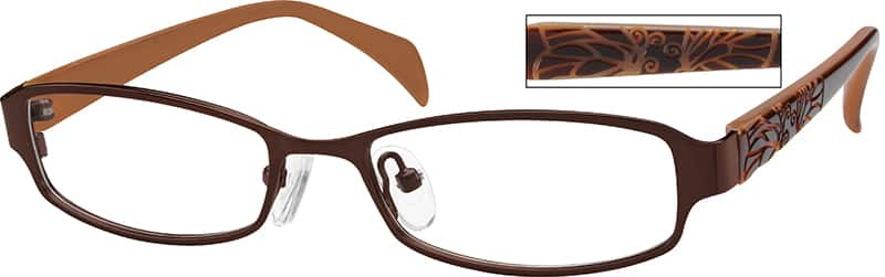 Girl Full Rim Mixed Materials Eyeglasses #752117