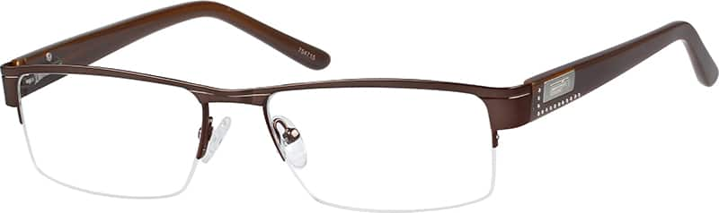 Men Half Rim Mixed Materials Eyeglasses #754721