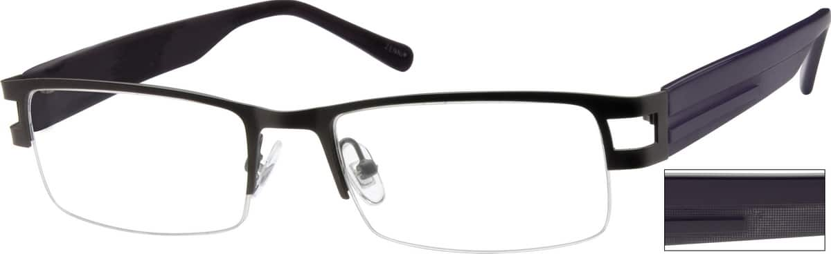Men Half Rim Mixed Materials Eyeglasses #755612