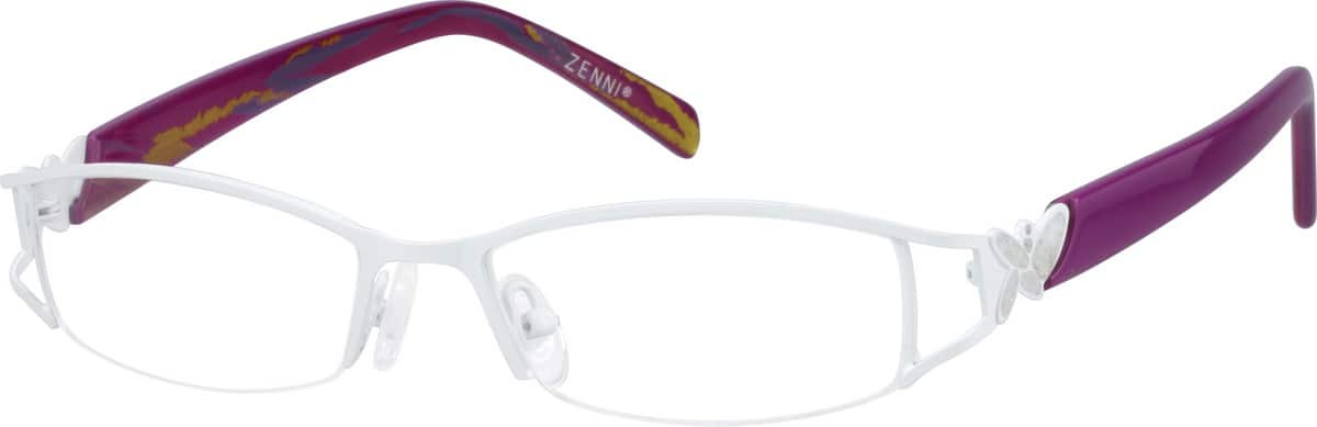 Women Half Rim Mixed Materials Eyeglasses #763330