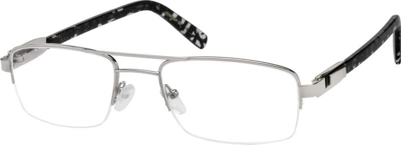 Men Half Rim Mixed Materials Eyeglasses #763711