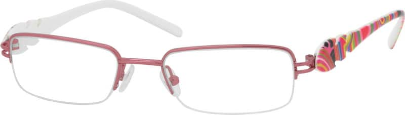 Girl Half Rim Mixed Materials Eyeglasses #763917