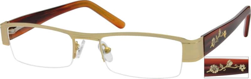 Women Half Rim Mixed Materials Eyeglasses #764117