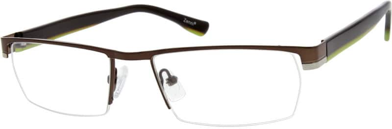 Men Half Rim Mixed Materials Eyeglasses #764915