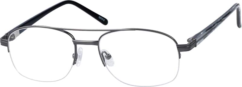 Metal Alloy Half Rim Frame with Acetate Temples and Spring Hinges