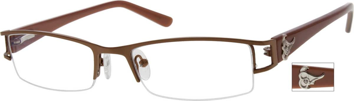 Men Half Rim Mixed Materials Eyeglasses #769015