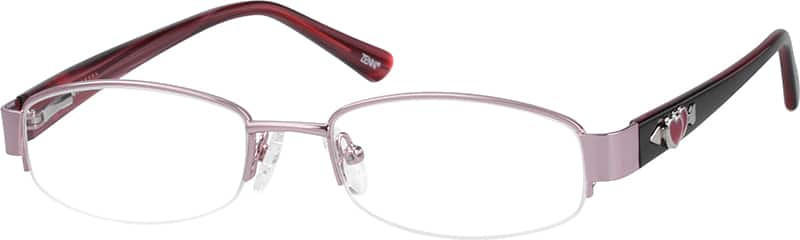 Stainless Steel Half-Rim Frame with Acetate Temples and Spring Hinges