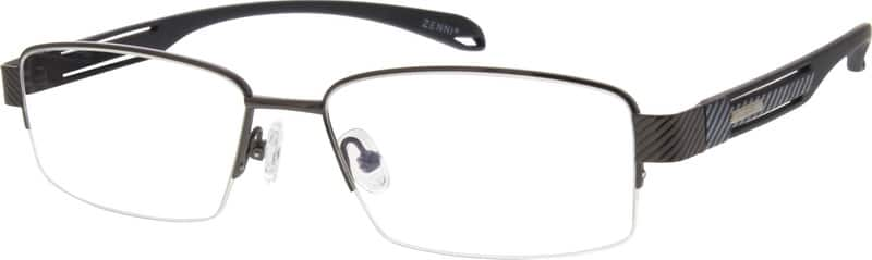 Men Half Rim Mixed Materials Eyeglasses #778621