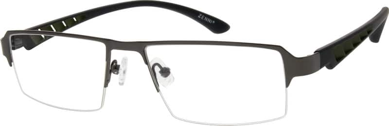 Men Half Rim Mixed Materials Eyeglasses #778721