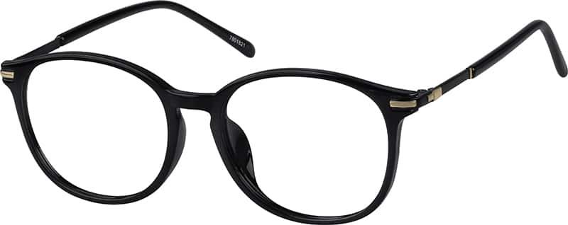 glossy black round eyeglasses