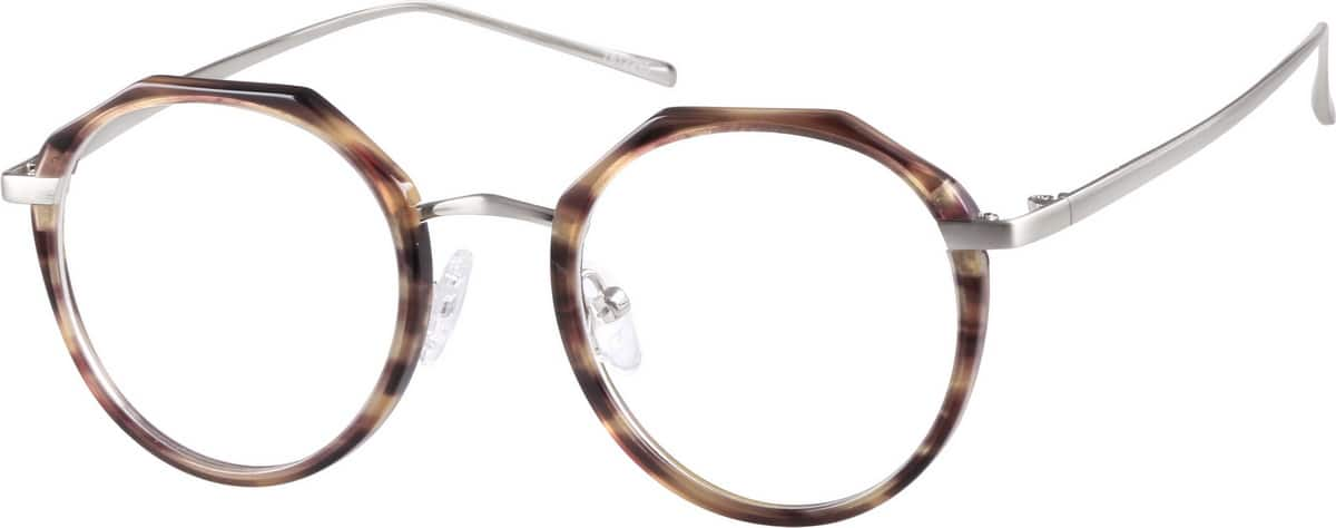 Unisex Full Rim Mixed Materials Eyeglasses #7812215