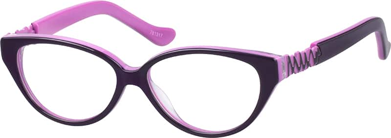 Girl Full Rim Mixed Materials Eyeglasses #781317