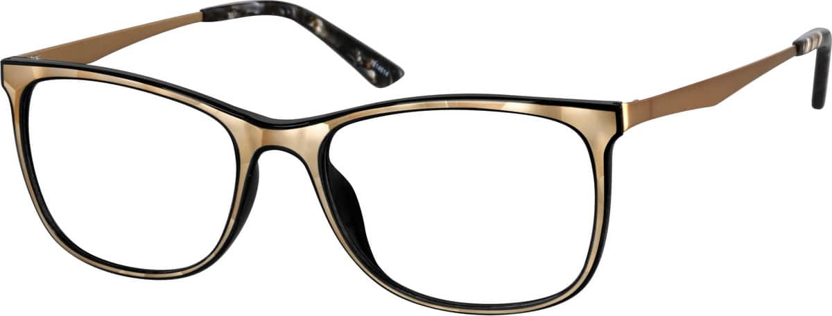 Unisex Full Rim Mixed Materials Eyeglasses #7814614
