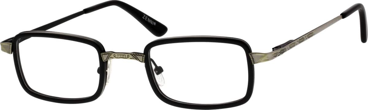 Metal Alloy and Acetate Full-Rim Frame with Metal Alloy Temples and Spring Hinges