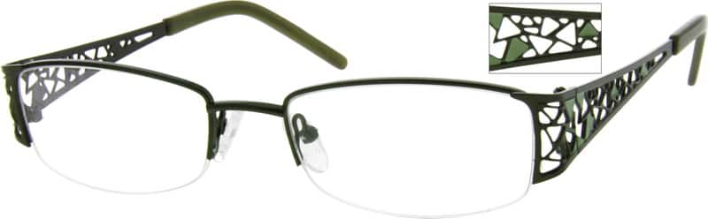 Women Half Rim Stainless Steel Eyeglasses #790221