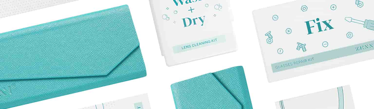 Lay-down image of Zenni deluxe tri-fold case in teal surrounded by Wash & Dry cleaning spray kit , Fix repair kit, and Clean individual lens wipes.