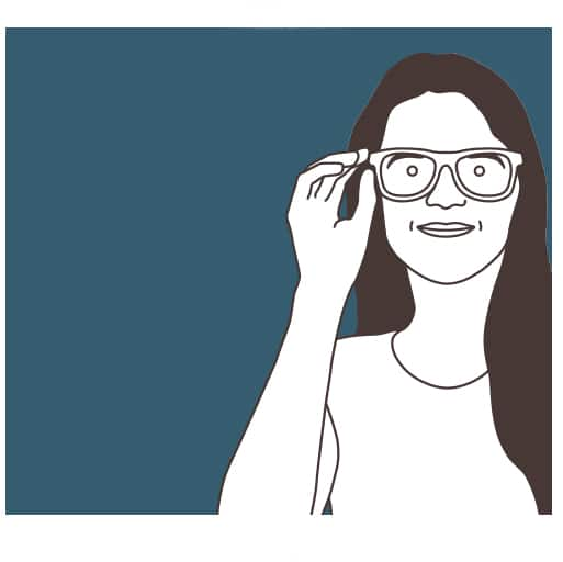 Illustration of a woman with long dark hair trying on a pair of Zenni glasses.