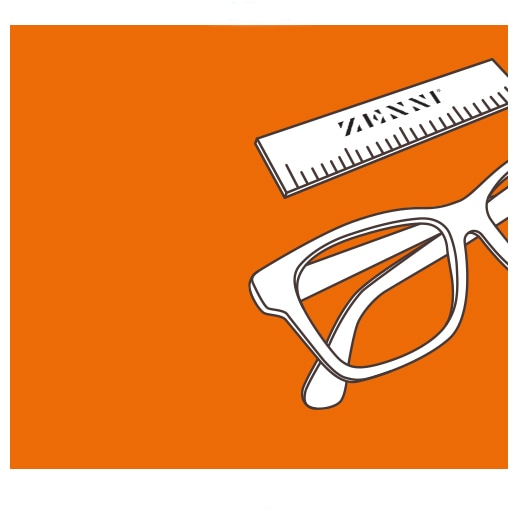 Illustration of glasses next to a Zenni PD ruler.