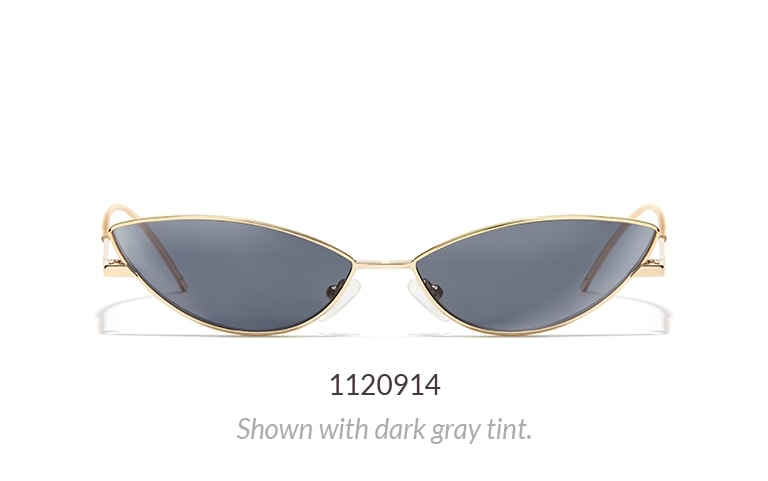 Extreme cat-eye microshades shown in gold metal with dark gray tint.