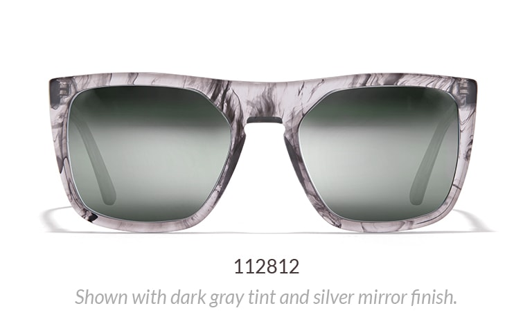 Modern flat-top sunglasses with gray marble pattern shown with dark gray tint and silver mirror finish.