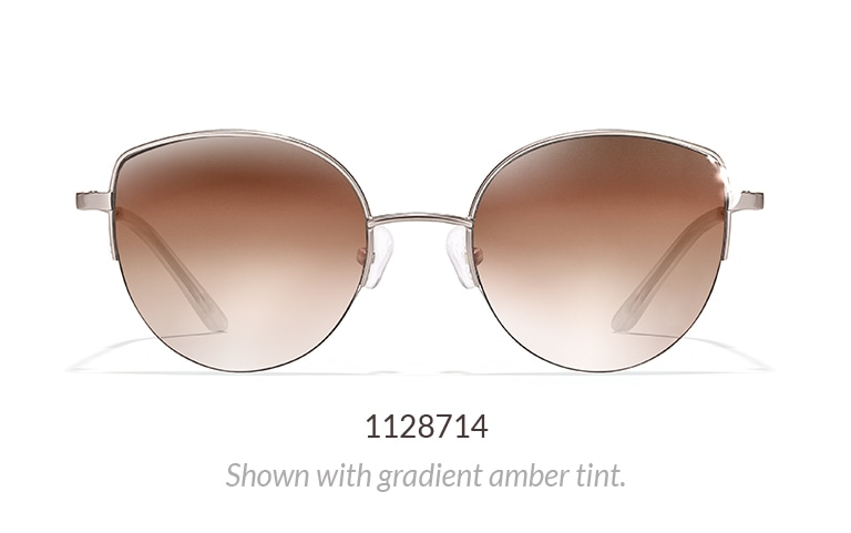 Metal half-rim cat-eye sunglasses shown in silver with gradient amber tint.