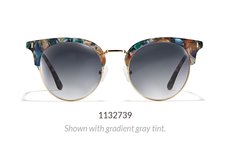 Premium browline sunglasses 1132739 with multi-colored brow shown with gradient gray tint.