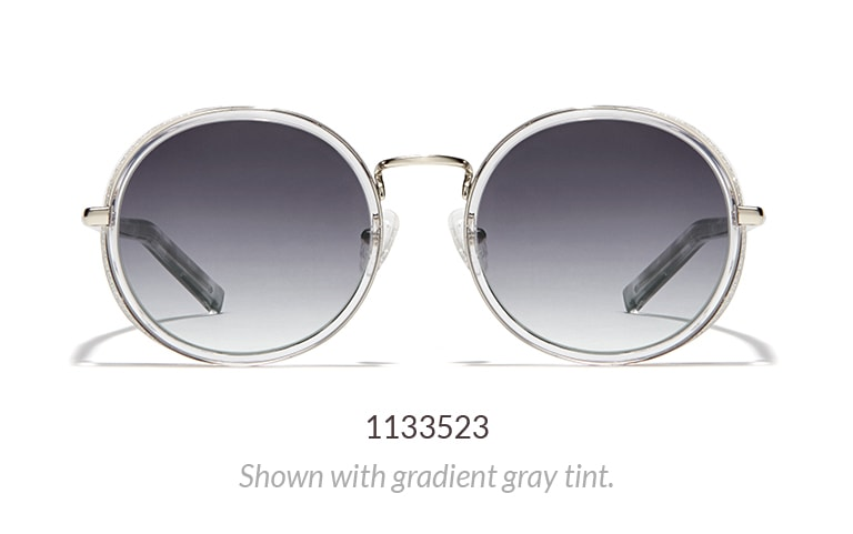 Round sunglasses shown in clear with gradient gray tint.