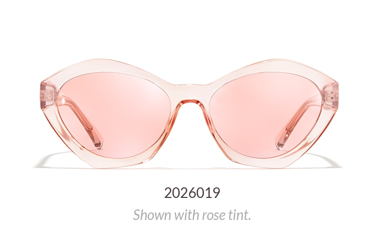 Translucent pink plastic geometric sunglasses shown with rose tint.
