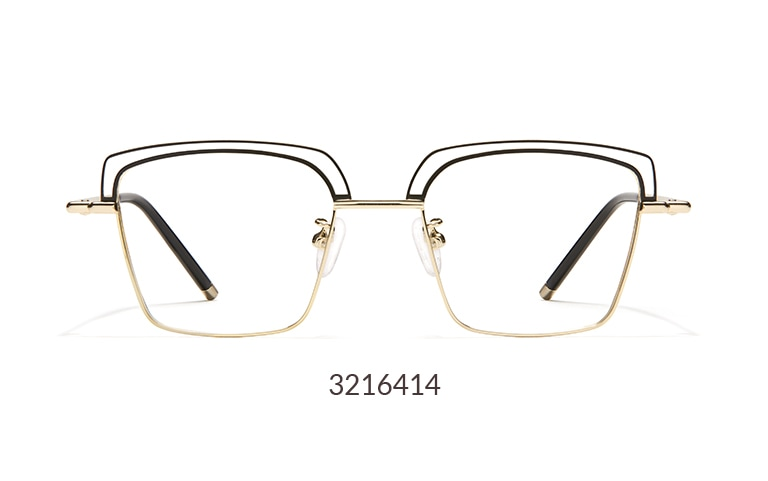 This distinctive square frame features a gold rim with a black wire detail on the brow.