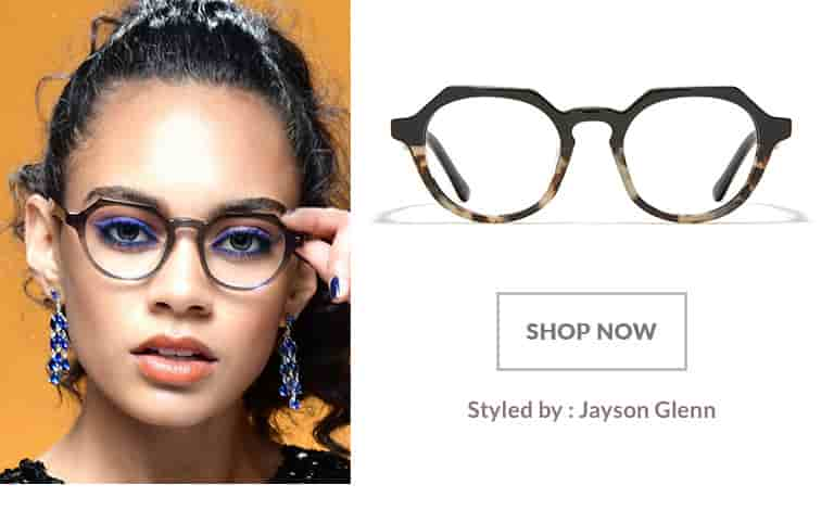 Model styled by Jayson Glenn wearing black acetate geometric glasses #4429821.