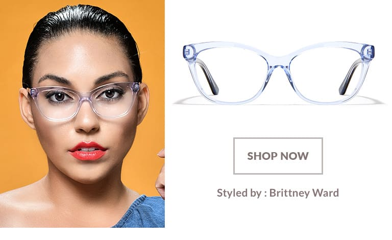 Model styled by Brittney Ward wearing translucent blue acetate cat-eye glasses #4433816.