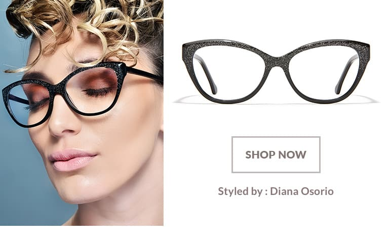 Model styled by Diana Osorio wearing black sparkle acetate cat-eye glasses #4429221.