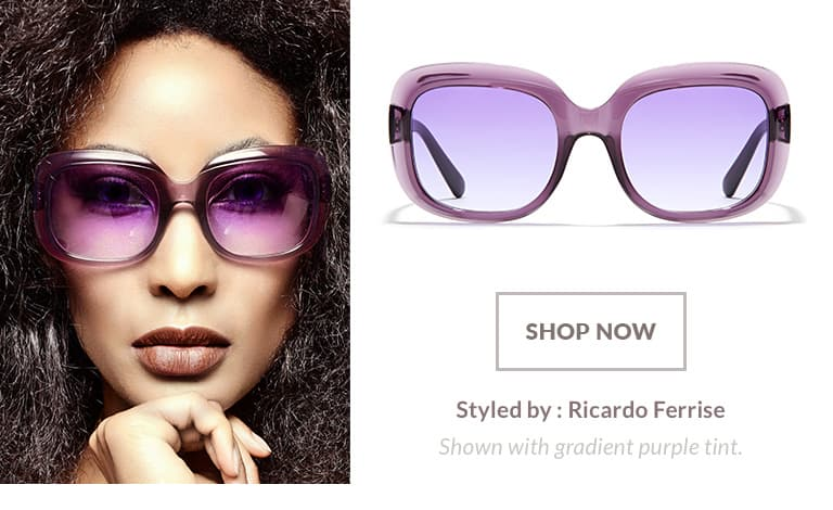 Model styled by Ricardo Ferrise wearing glam premium square sunglasses #1117517 in translucent purple with gradient purple tint.