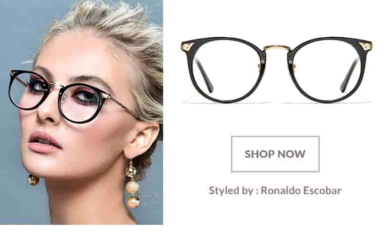 Model styled by Ronald Escobar wearing round glasses #785321 in black with gold accents.