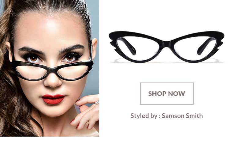 Model styled by Samson Smith wearing 1950s-inspired black acetate cat-eye #483921.